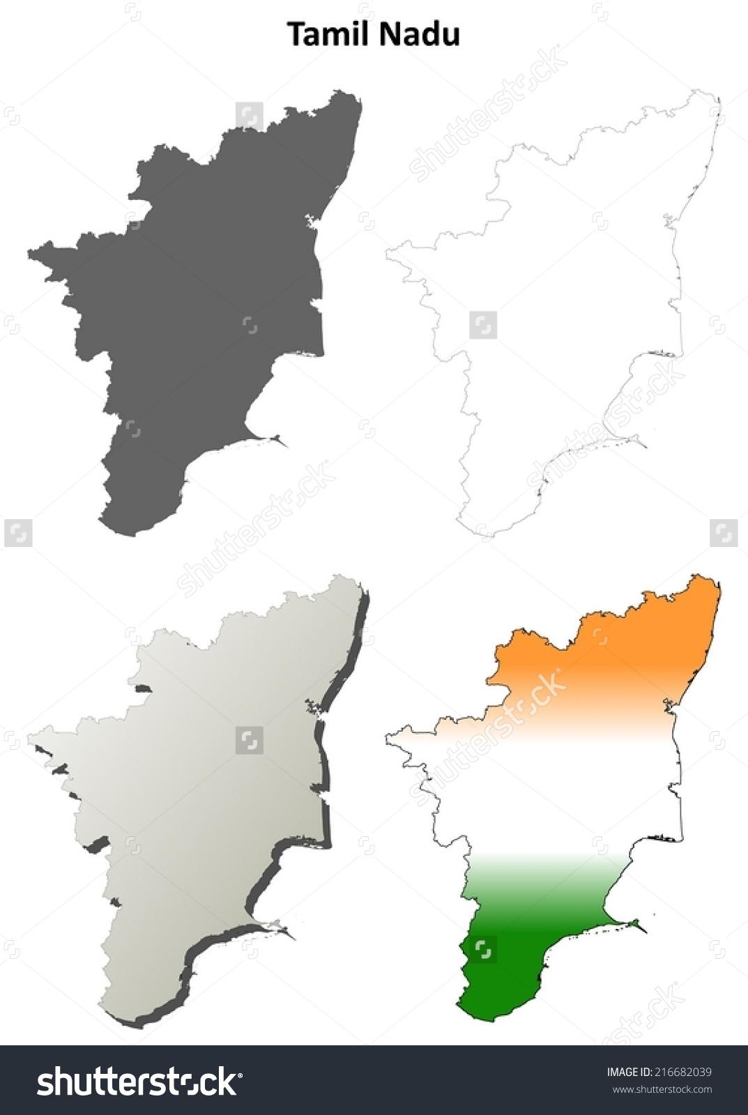 Tamil Nadu Blank Detailed Outline Map Stock Vector 216682039.