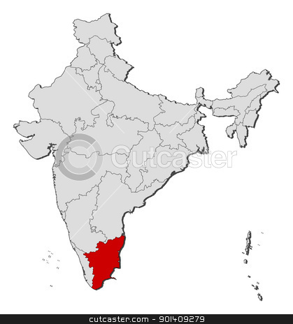 Map of India, Tamil Nadu highlighted stock vector.
