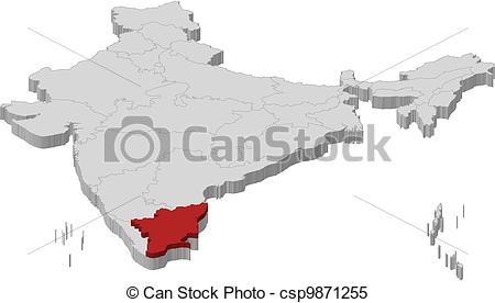 Clipart Vector of Map of India, Tamil Nadu highlighted.