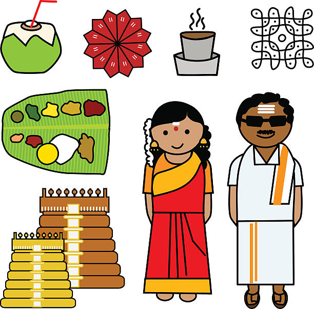 People And Culture Of Tamil Nadu India Clip Art, Vector Images.
