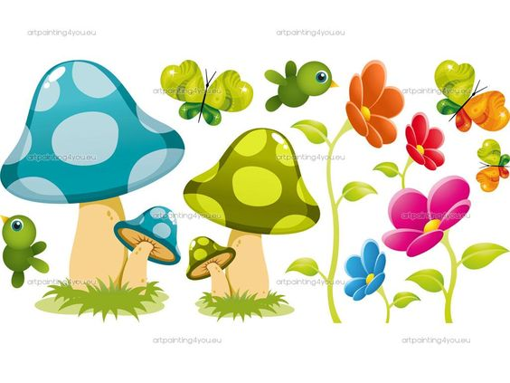 happy mushrooms clipart.