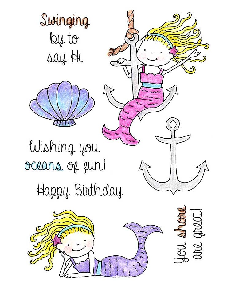 Anchor & Lounging Mermaids Clear Stamp Set 11248MC.