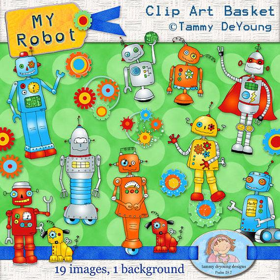 Robot Clip Art Superhero Robot Clipart Digital retro robots.