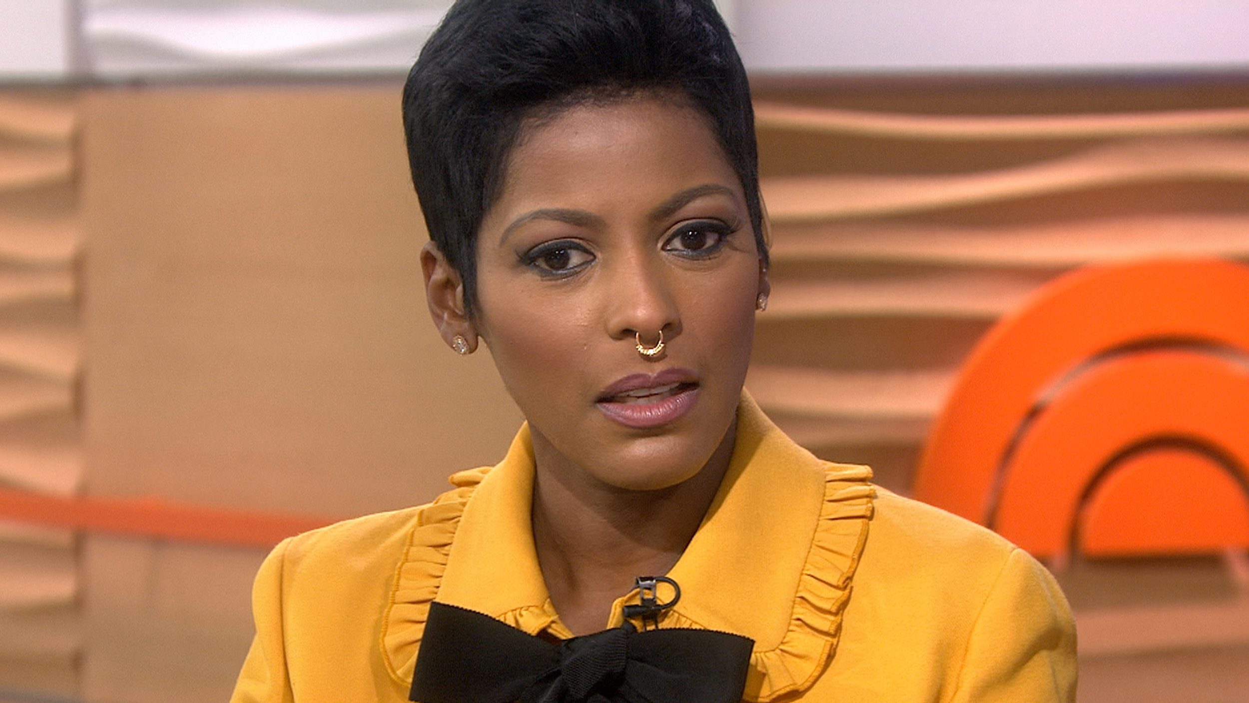 Fake nose ring: Tamron Hall tests the septum ring trend.