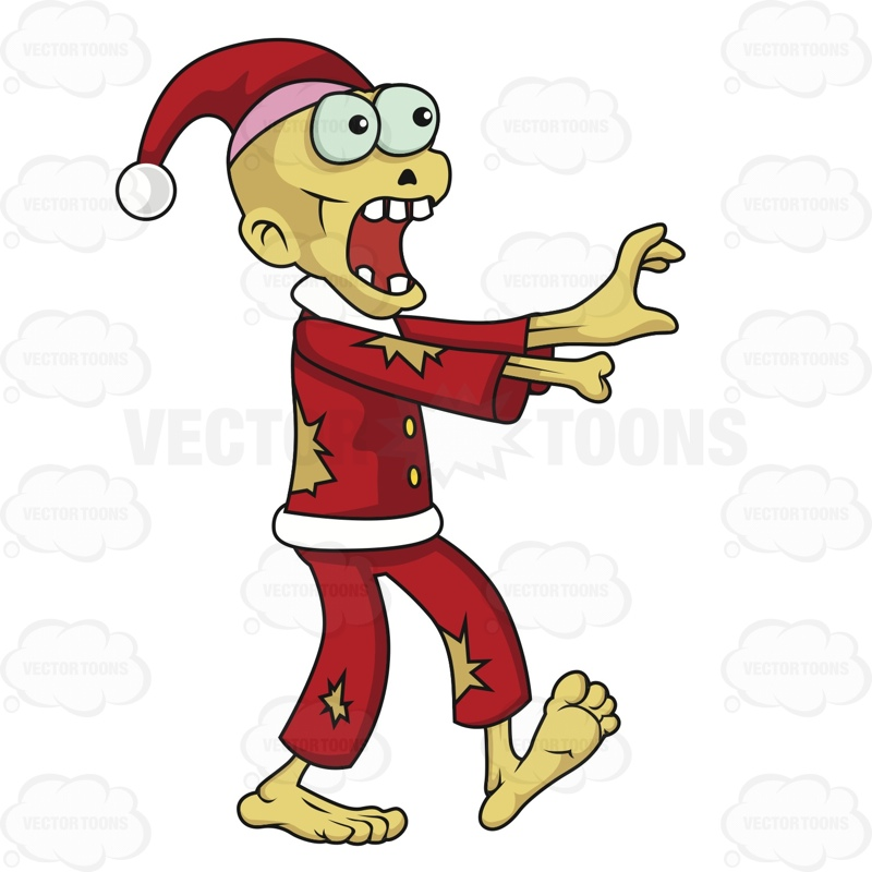Zombie Santa With Tan Skin And Is Missing A Hand Cartoon Clipart.