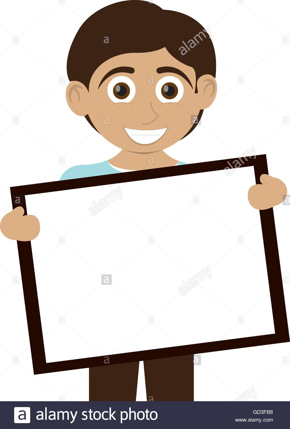 Happy Boy With Tan Skin Holding Board Icon Stock Vector Art.