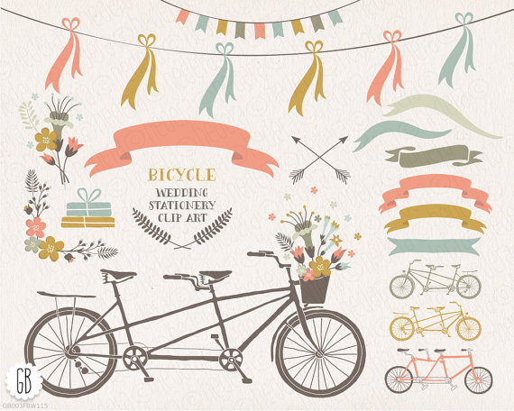 Tandem bicycle, flower basket, floral wreaths, ribbons, bike.