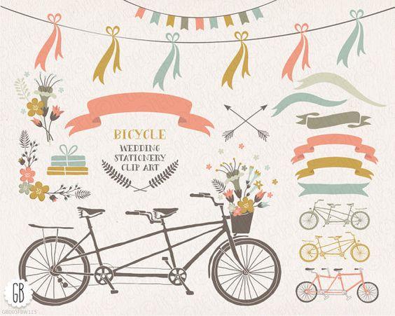 Tandem bicycle, flower basket, floral wreaths, ribbons, bike.