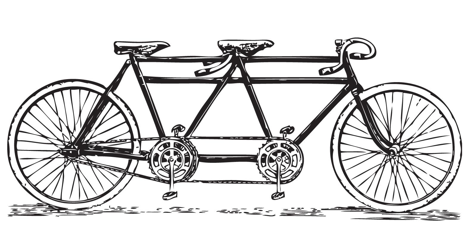 Free vintage tandem bicycle clip art bicycle.