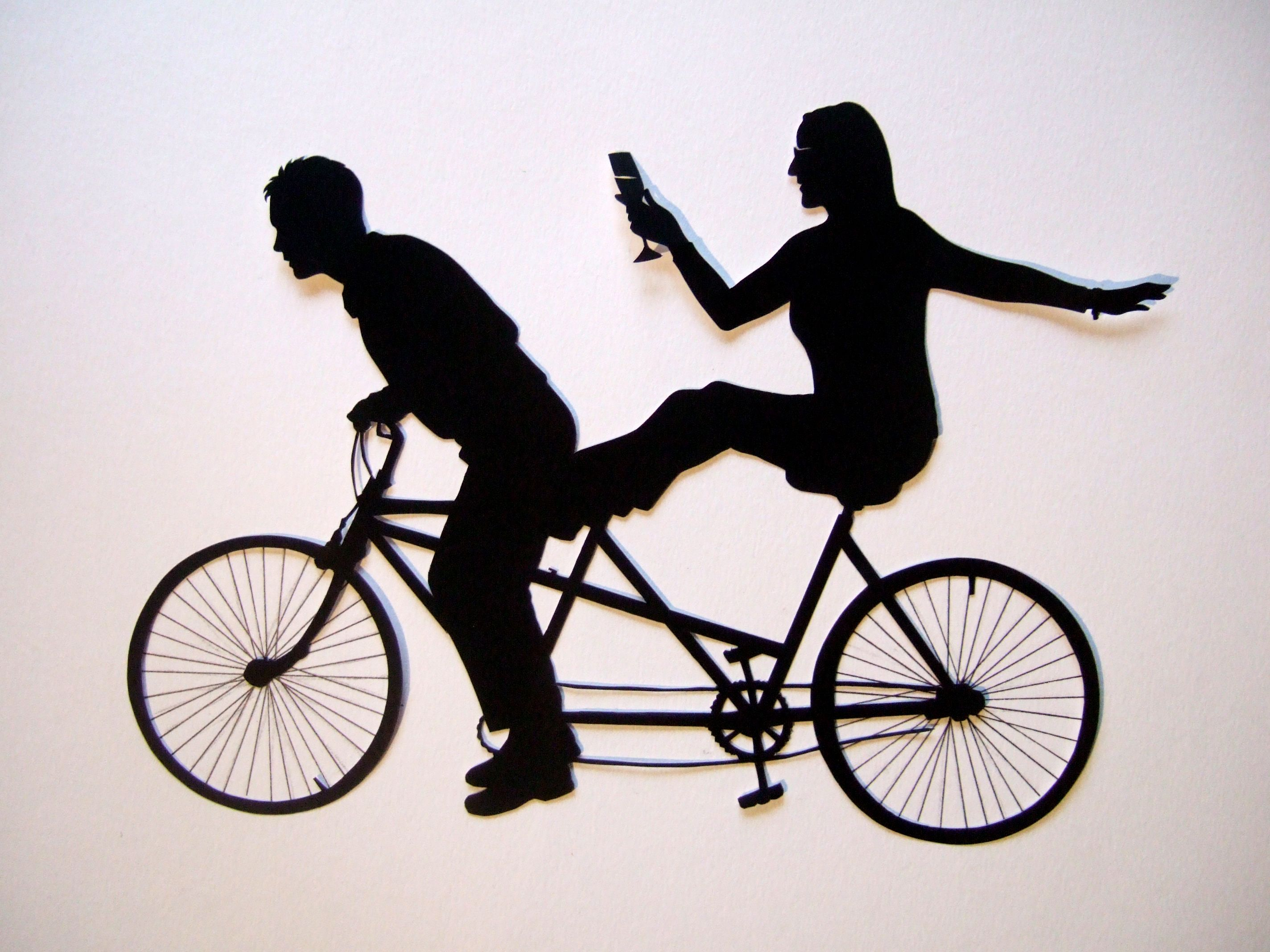 tandem mountain bike clipart.