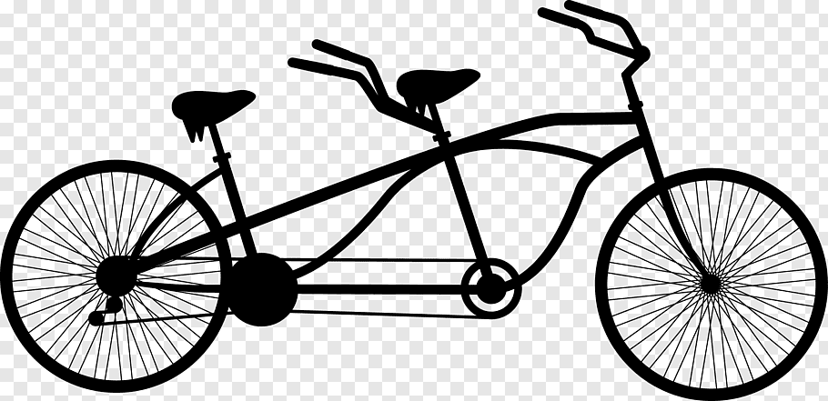 Black tandem bike stencil, Tandem bicycle Cycling, Black.