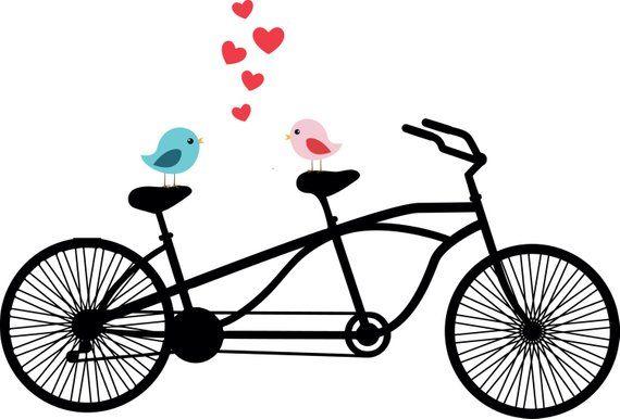 Tandem Bicycle Clipart, Love birds, Wedding invitation.