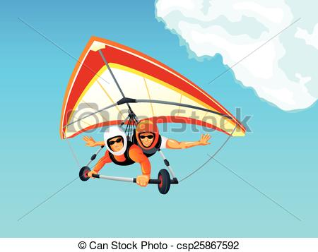 EPS Vectors of Hang gliding.