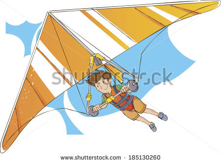 Cheerful Hang Gliding Tandem Flying Sky Stock Vector 259436393.