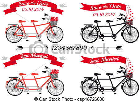 Vectors Illustration of tandem bicycle with red hearts.