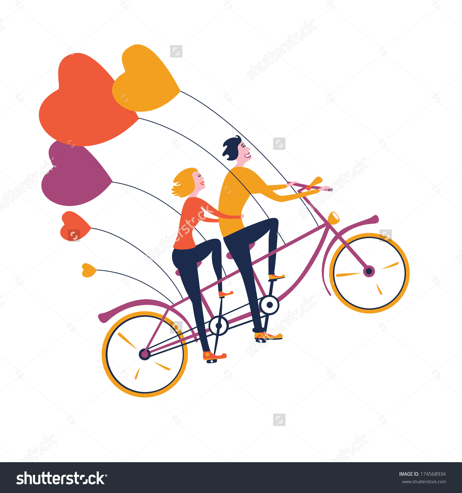 Two Lovers Flying On A Tandem Bike With Balloons. Stock Vector.