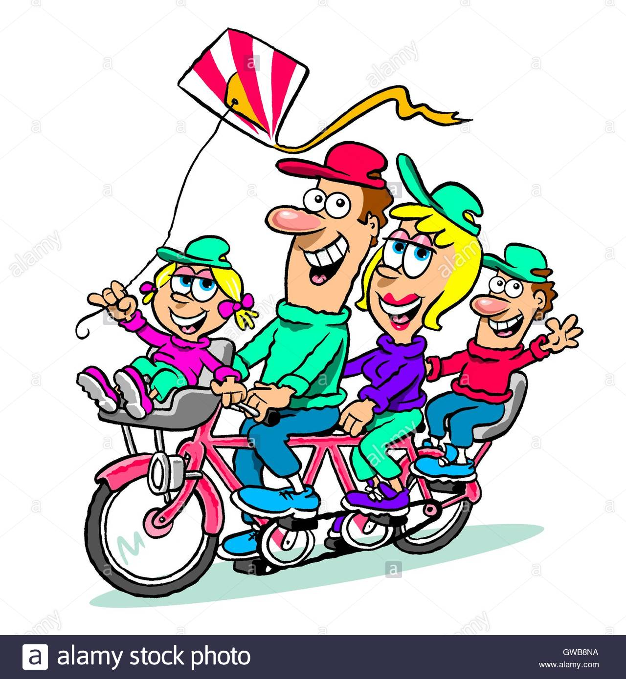 Cartoon Caricature Of Happy Family Riding Tandem Bike And Flying A.
