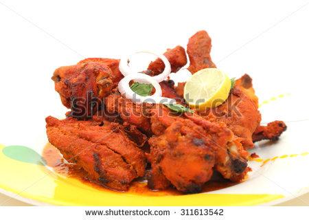 Indian Style Roasted Chicken Tandoori Chicken Stock Photo.