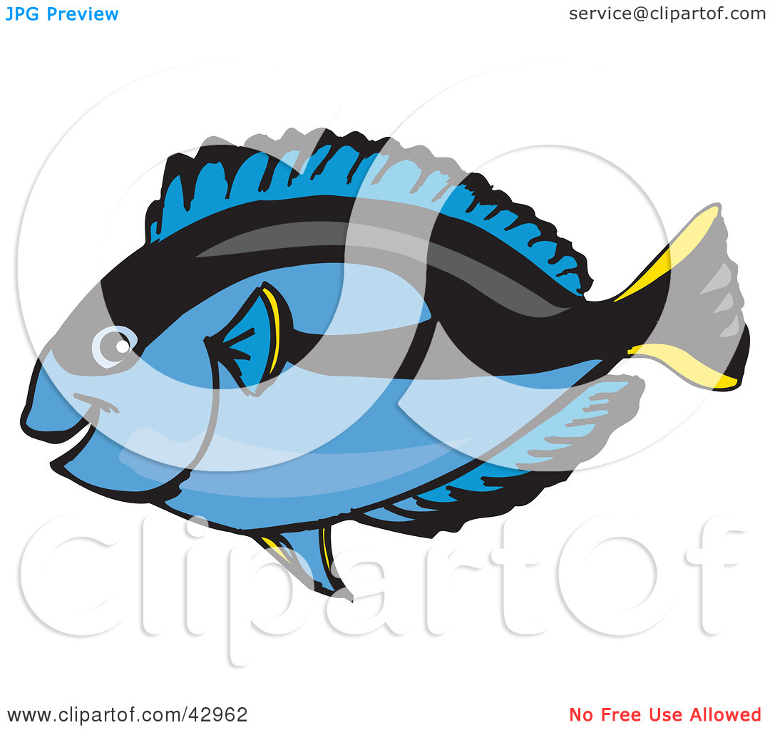 Clipart Illustration of a Happy Blue Regal Tang Fish by Dennis.