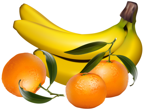Bananas and Tangerines PNG Clipart.