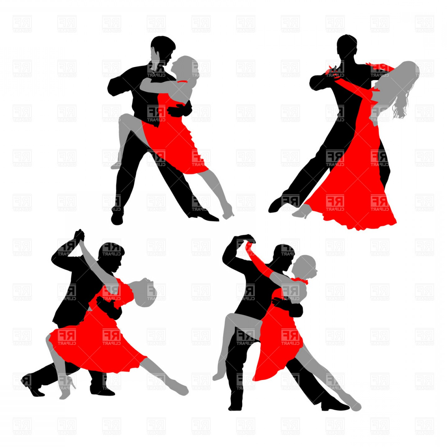 Dancing Couple Tango Vector Clipart.