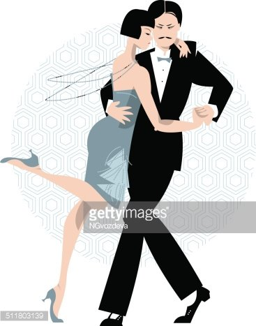 Couple dancing. Art deco. Retro tango. Clipart Image.