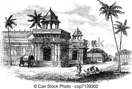Vector Illustration of Tanjore Palace, vintage engraving.