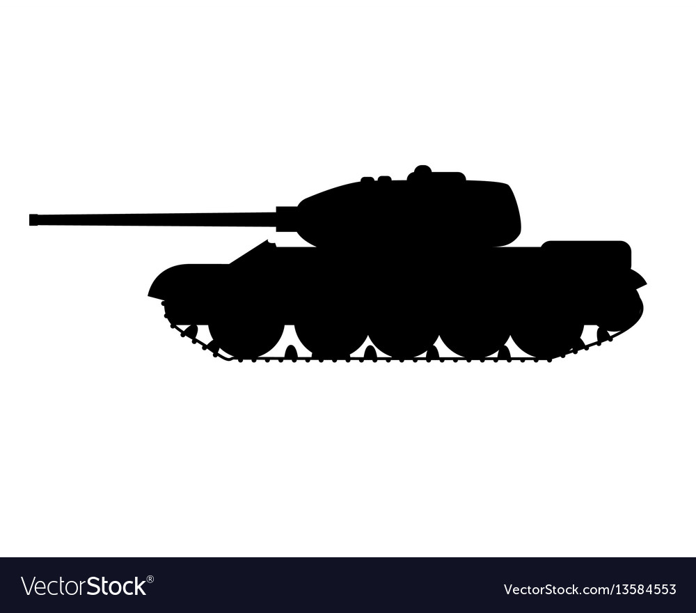 Silhouette of a military tank.
