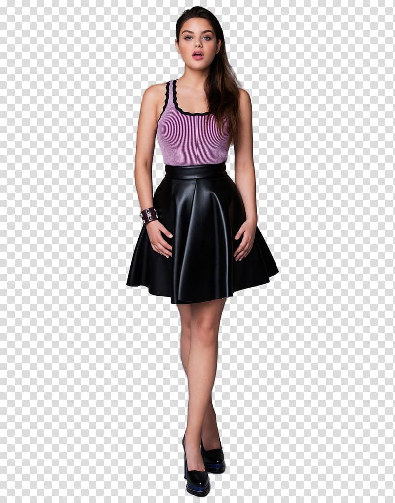 Odeya Rush, women\'s purple tank top and black mini skirt.