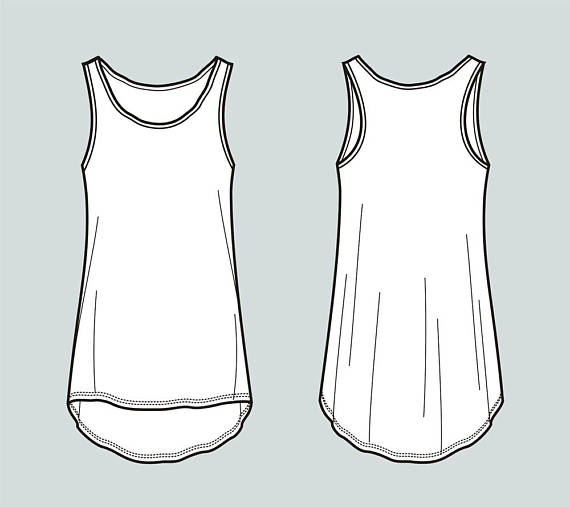 Tank top vector fashion flat sketch, Adobe Illustrator.