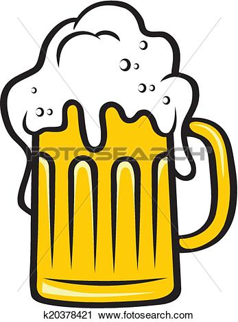 Clipart of Tankard of beer with a big frothy head k20378421.