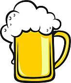 Clip Art of Tankard of frothy golden beer k18932406.