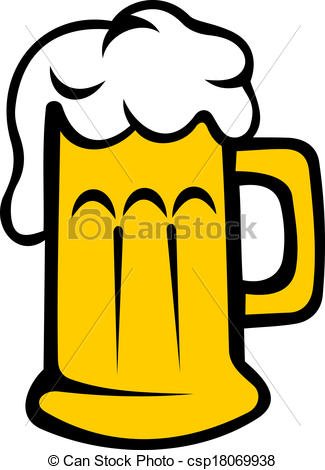 Vectors of Frothy tankard of beer or lager.