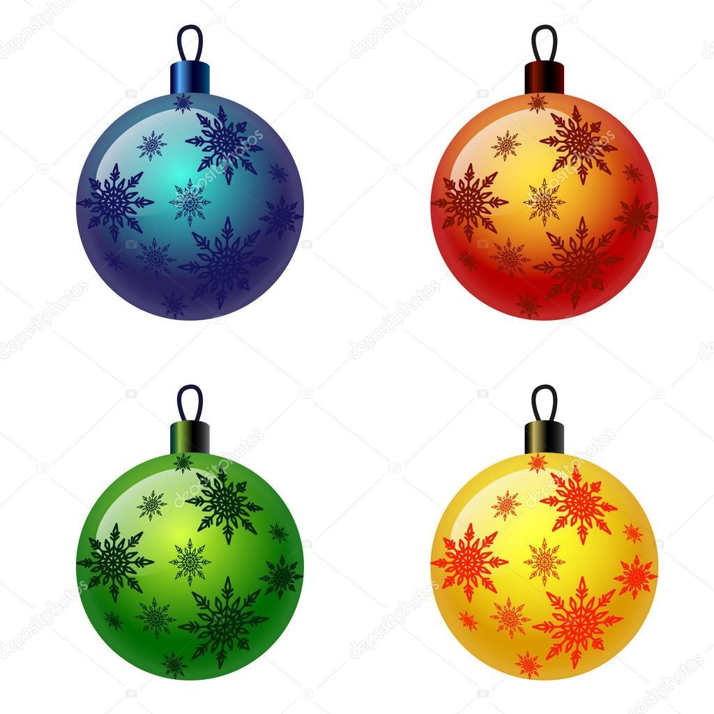 Set of Christmas balls. Christbaumschmuck, Weihnachtskugel — Stock.