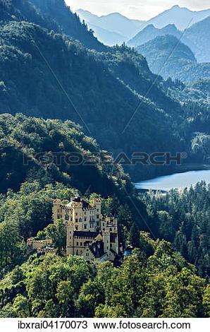 Stock Photo of Hohenschwangau Castle, lake Schwansee, Tannheim.
