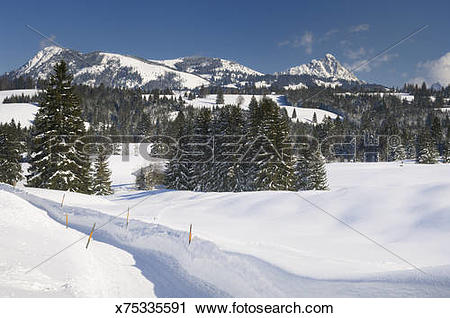 Stock Photography of Winterscape, Tannheimer Mountains x75335591.