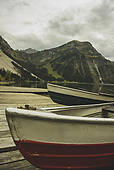 Pictures of Austria, Tyrol, Tannheimer Tal, boats at mountain lake.