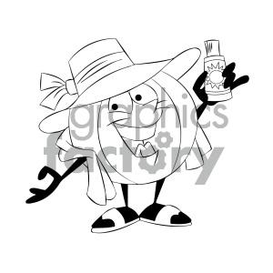 black and white cartoon beach ball character sun tanning clipart.  Royalty.