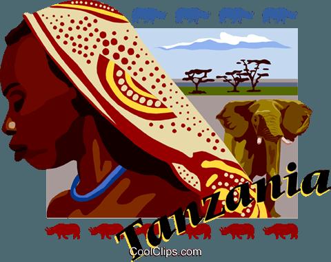 Tanzania postcard design Royalty Free Vector Clip Art illustration.