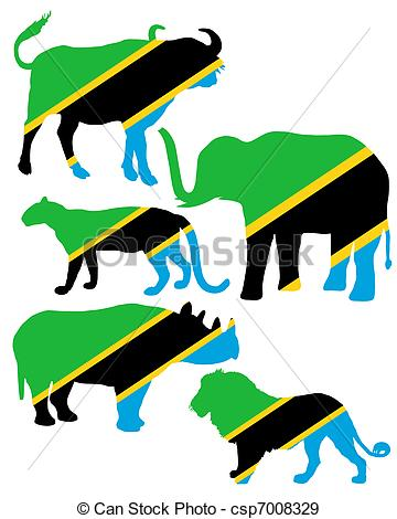 EPS Vectors of Big Five Tanzania csp7008329.
