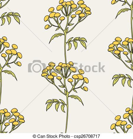 Vector Clip Art of Tansy flowers pattern.