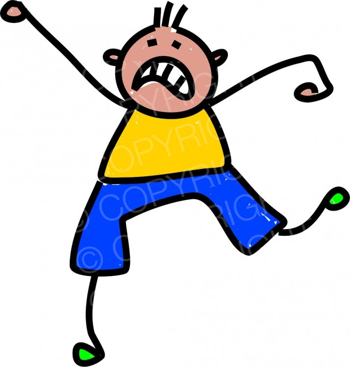 Happy Cartoon Temper Tantrum Kid Toddler Art Prawny Clip Art.