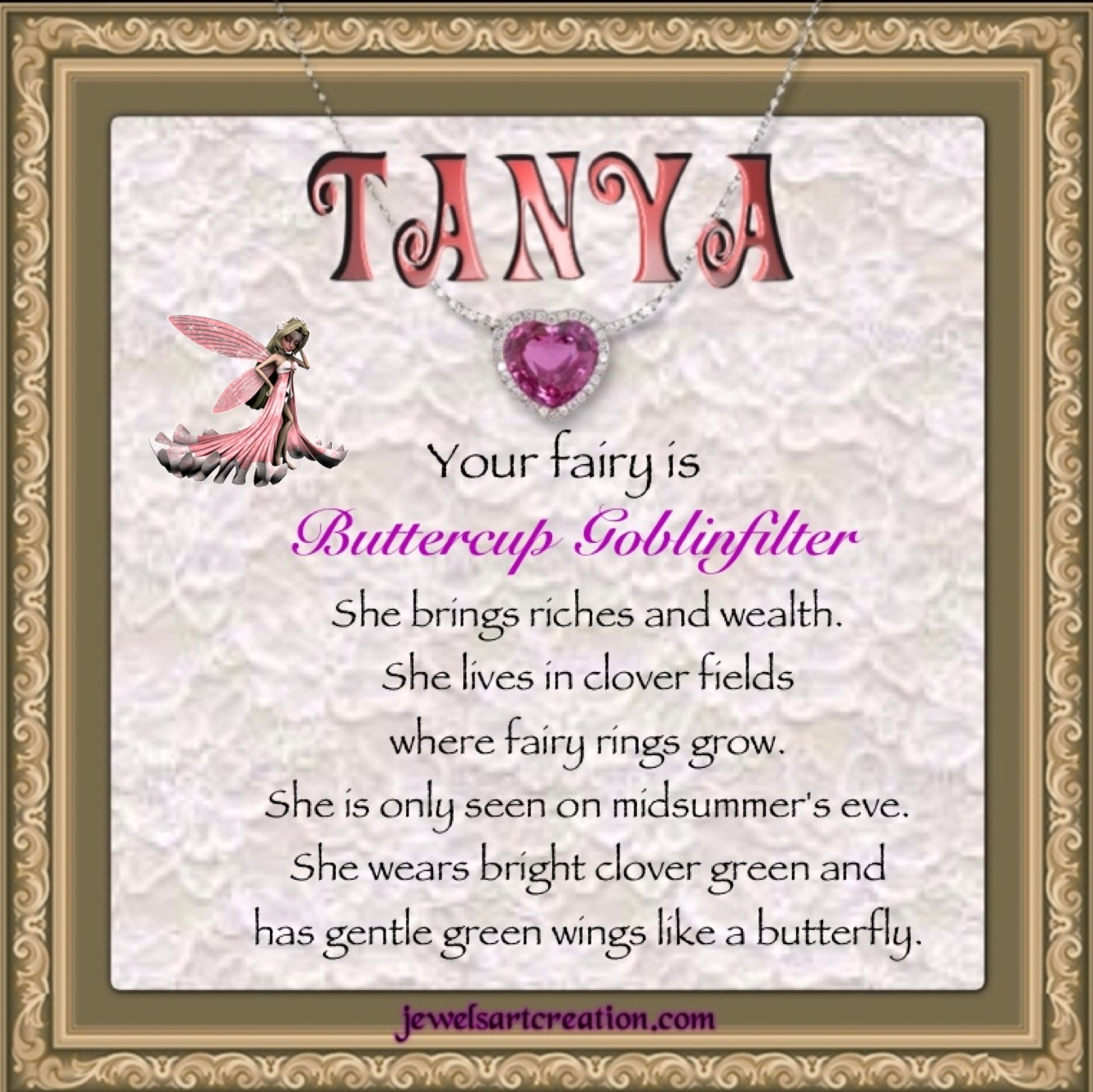 Tanya Fairy Name ~ Jewels Art Creation.