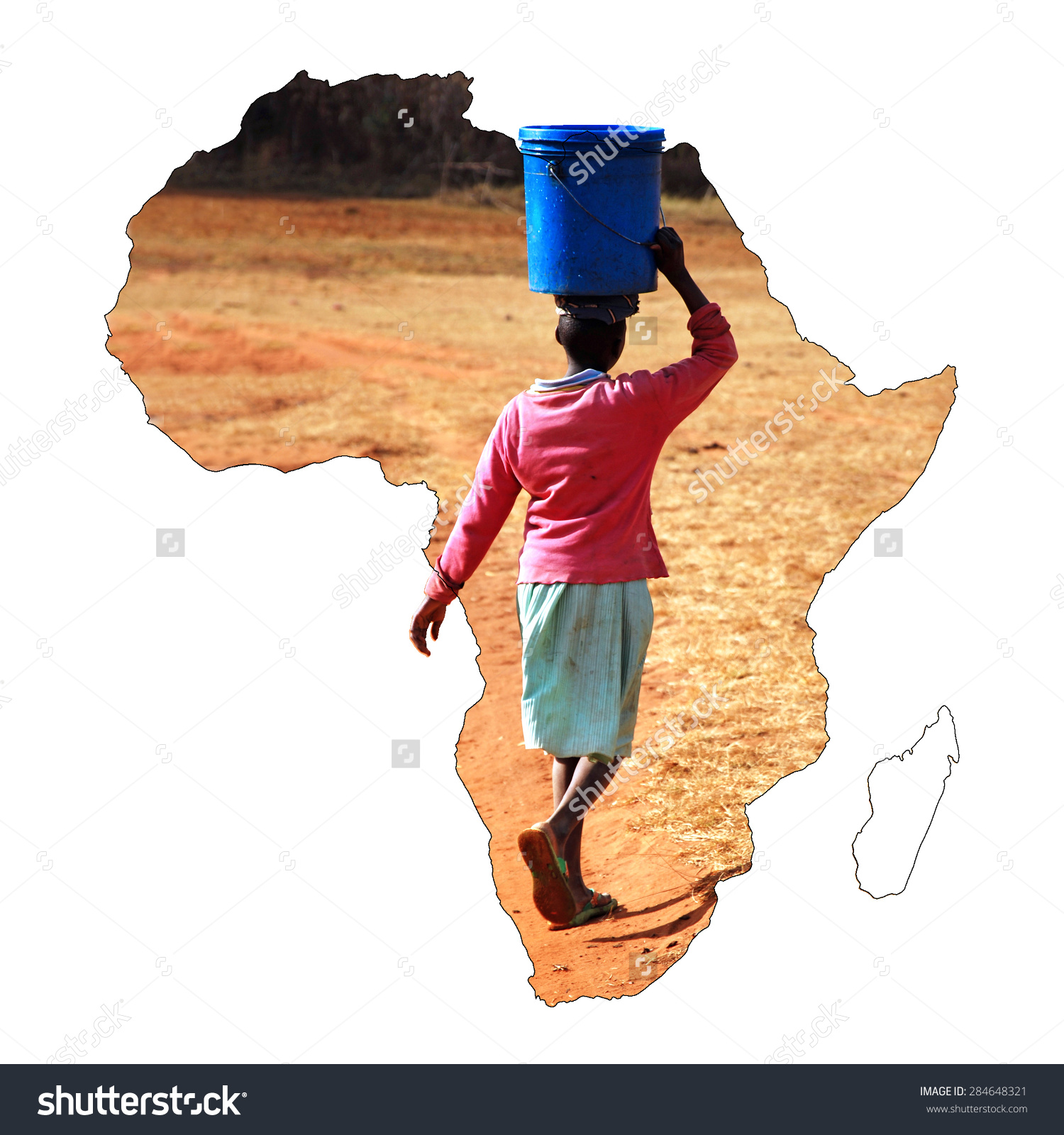 Young African Girl Carrying Bucket Water Stock Photo 284648321.