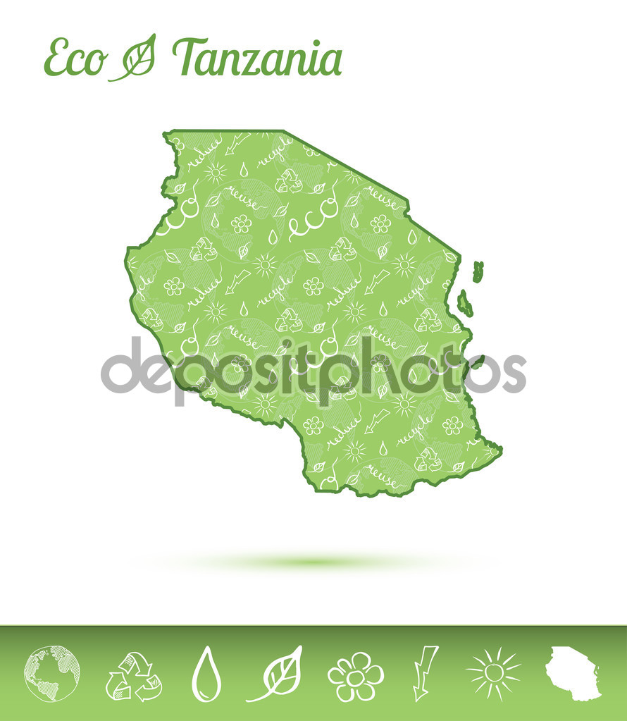 Tanzania, United Republic of eco map filled with green pattern.