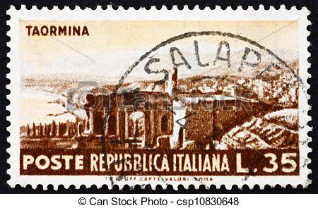 Stock Photo of Postage stamp Italy 1953 View of Roman Ruins.