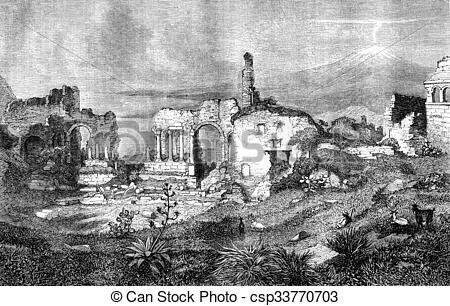 Stock Illustration of Taormina theater ruins, Sicily, vintage.