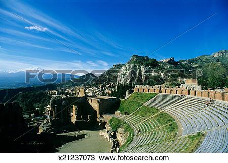 Stock Photo of Italy, Sicily, Taormina, Ancient Greek theatre.