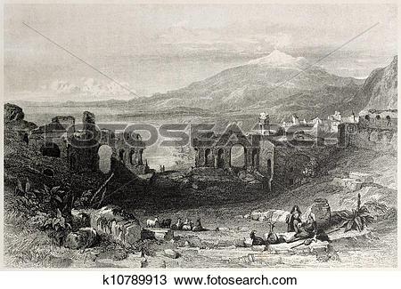 Drawing of Taormina theatre k10789913.