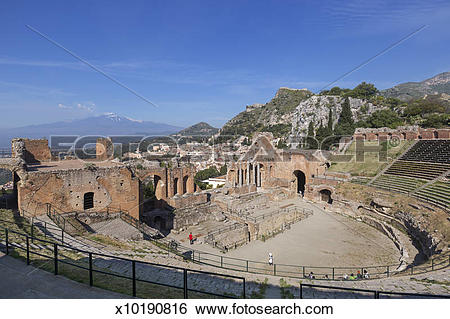 Stock Images of Ancient Greek Theatre in Taormina with mount Etna.
